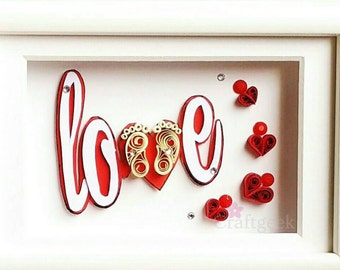 Baby Feet, Framed Quilled Word Love With Heart And Baby feet, Expecting Mom Gift.