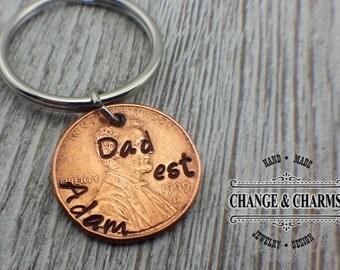 Custom Dad Keychain, Custom Keychain, Fathers Day Gift, New Dad, Gift for Husband, Penny Keychain, Lucky Penny, Gift for Men, Keychain,Lucky