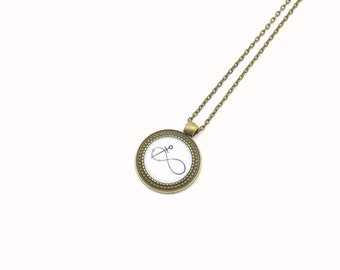 "Cabochon necklace ""Infinity"" 70 cm bronze"