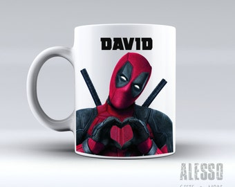 DEADPOOL inspired MUG. Personalised Marvel Deadpool coffee/tea mug. Custom name X-Men/Avengers movie comic gift for men women Nerd geek love