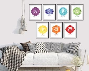 Chakra Set - Chakra Meditation Wall Art Set - Chakra Prints - Chakra Art - Meditation Decor - Yoga Art - Reiki Wall Art - Yoga Studio Decor