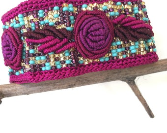 Handmade Embroidered, Beaded and Macrame Bracelet