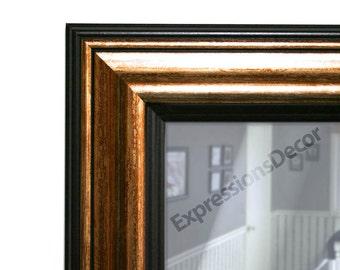 Custom Antique Metallic Bronze & Black Wall Mirror - Flat Glass - FREE SHIPPING