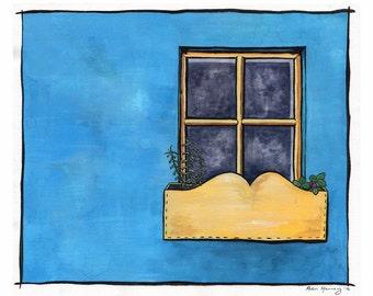 Original painting, Irish cottage, Blue house, Yellow window, Whimsical art, Gouache painting, Irish town, Colorful art, Kinsale