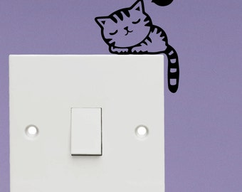 Sleepy cat light switch sticker - Vinyl Decal Sticker - Kids light switch sticker decal