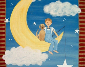 Kids Art Print Children's Decor - Boy Fishing w Dog - Boys Room Kids Wall Art Prints for Baby Nursery Child Teen - Fly Me To The Moon by TLW