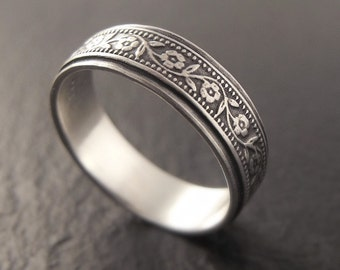 Wedding Band - Floral Wedding Ring in Sterling Silver