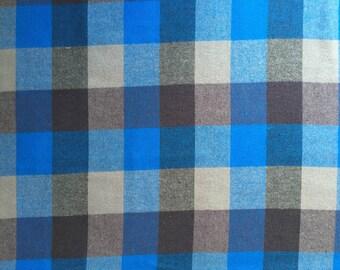 Blue Buffalo Check Plaid Woven Cotton Flannel Fabric - One Yard