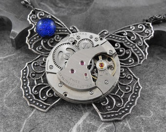 Steampunk Dichroic Butterfly Necklace - Pursuit of the Mechanical Butterfly by COGnitive Creations