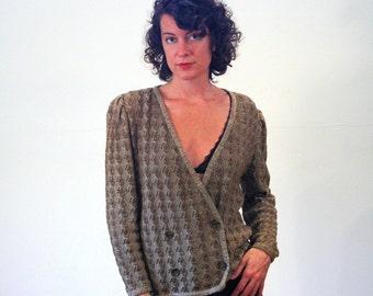 80s Oscar de la Renta Sweater, Brown Knit Cardigan, 1980s Designer Cardigan, Designer Sweater, Double Breasted Cardigan, M