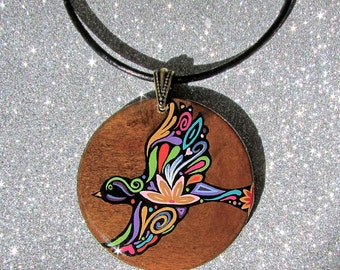 "SALE Beauty in Flight ""Hand painted wood necklace"""