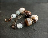 Stone Planet Bracelet - Brown, White, Blue Faceted Agate, Oxidized Patina, Rustic Chain, Chunky Beaded Bracelet