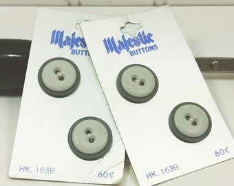 Two Tone Gray Buttons from Majestic, 19 mm 3/4 inch Layered Look Sew Through Grey Buttons