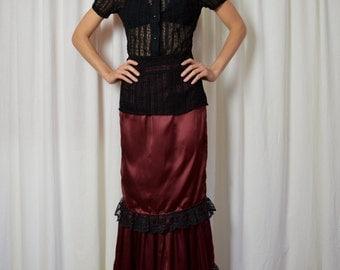 Womens Christmas Skirt, Holiday Skirt, Steam Punk , Edwardian Skirt, Long Skirt, Red Skirt, Black Lace, 1900s Skirt, Maxi Skirt, Silk Skirt,