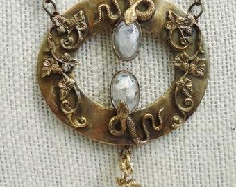 Art Nouveau Double Snake Neckace with Irridescent Glass