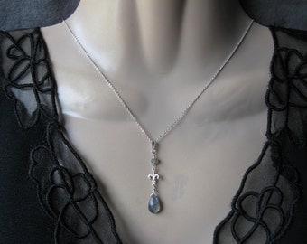 Labradorite Drop Necklace- Silver, Fleur de Lis Design