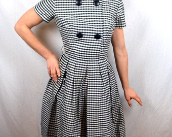 Vintage 1950s 50s RARE Amazing Suzy Perette Dress Checked Party Cocktail Dress