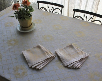 Large Antique Yellow Damask Tablecloth with 12 Napkins