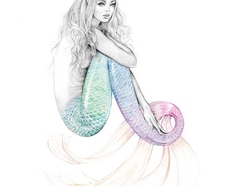8x10 inch PRINT Daydreamer Mermaid Colour Splash Pastel Rainbow Tail Art Print Graphite Pencil Drawing Signed