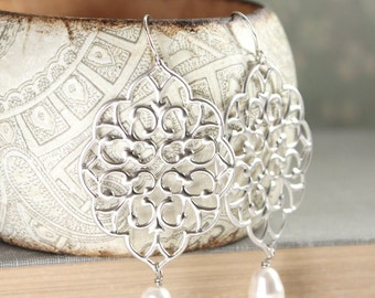 Silver Filigree Earrings Big Lace Dangle Pretty Modern Large Silver Chandelier with Pearl Drop Boho Bridal Jewelry Bridesmaids Gift