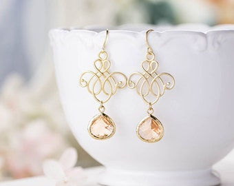 Peach Champagne Earrings Gold Ornate Filigree Peach Crystal Bridesmaid Gift Blush Wedding Jewelry Valentines day Gift for women for Her