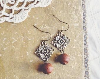 boho earthy floral filigree earrings.