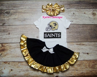 Saints Outfit / Onesie or Shirt + Skirt / Black & Gold / Who Dat / New Orleans / Game Day / Infant / Baby / Girl / Toddler / Custom Boutique