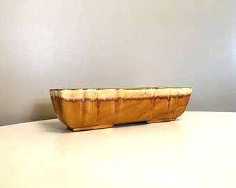 Vintage Harvest Gold Imperial Planter / Boho Style Pottery Decor / Gold Pottery Planter / Mid Century Modern Console Bowl