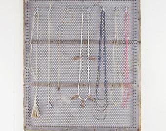 jewelry organizer,  jewelry storage, vintage industrial wall organizer, jewelry display, key hooks, key holder, kitchen organizer circa 1940