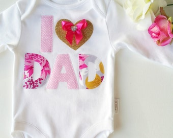 Fathers Day New Dad Baby Bodysuit I 'heart' Dad Baby New Dad Beautiful Floral Fabric Applique