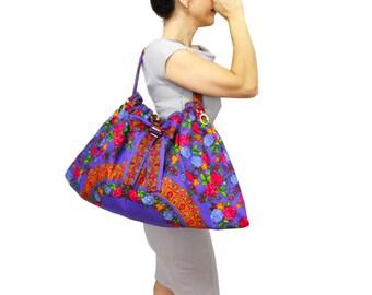 Purple floral shoulder tote bag, large hobo vibrant colors floral triangle bag, scarf fabric bag, purple summer bag, gift for her