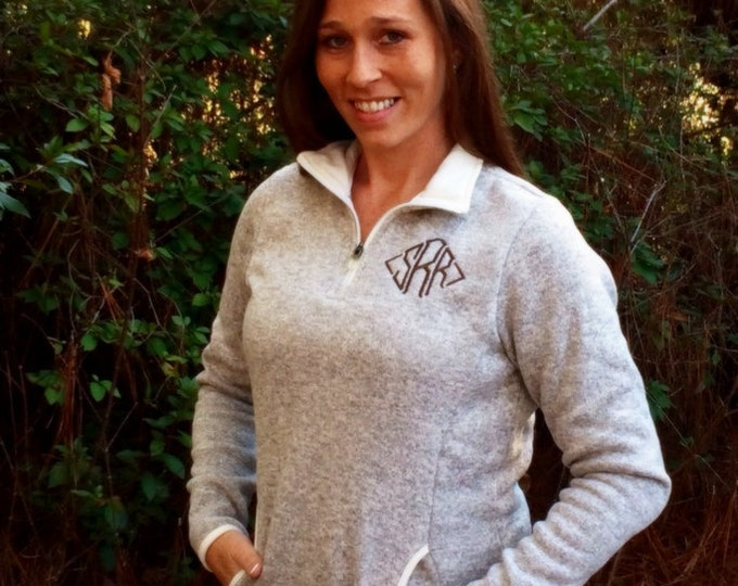 Monogrammed Heathered Fleece Pullover Sweater - Monogrammed 1/4 Zip Jacket - Charles River Apparel - Monogram Quarter Zip Sweater