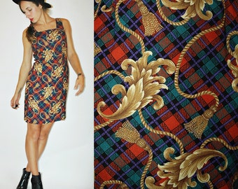 1980s PLAID Tassle Baroque Print Dress