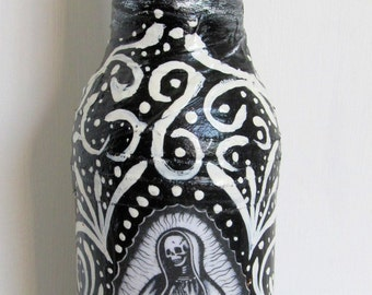 OOAK Altered Bottle, Halloween Decoration, Dia de los Muertos, Hand Painted Bottle, Swirl Pinstripe Art, Day of the Dead