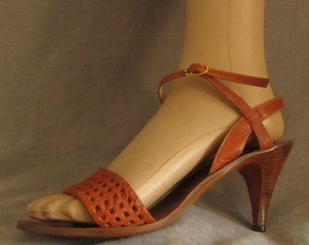 Vintage brown woven leather high heel shoes/sandals with leather soles high heels woman's summer shoes sandals
