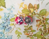 Wholesale Button Earrings / Fabric Covered / Bulk Jewelry / Made in USA / Red and White / Sensitive Stud Earrings / Gifts for Her