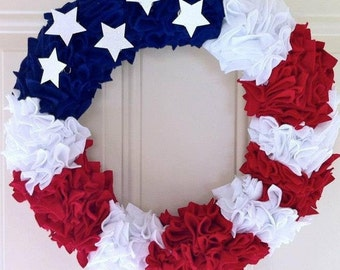 Country Flare United States Flag Rag Wreath