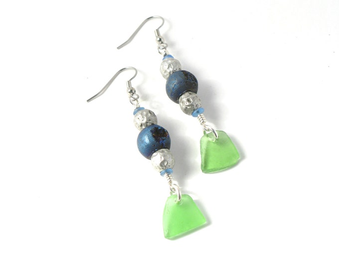 Rhode Island Green Sea Glass Earrings with Cobalt Blue Druzy Beads on Your Choice of Sterling Silver or Stainless Steel Ear Wires