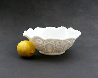 Milk Glass Bowl - Ruffled Sawtooth Edge - Quintec Pattern - Vintage