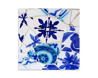 Blue and white Wall art, Mosaic tile Wall Decor, art tile for bathroom, Fine Art prints, spanish tiles, Gaudi, Barcelona