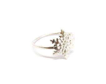 Silver Snowflake Ring, Sterling Silver Snowflake Ring, 925 Snowflake Jewelry, Wholesale Ring, Winter Jewelry, Christmas Gift, Ring Under 10