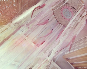 Hanging Mobile Canopy - Laces Baby Crib Crown - Boho Nursery Decor - Dreamcatcher Canopy - Gypsy Baby Bedroom - Bohemian Decor