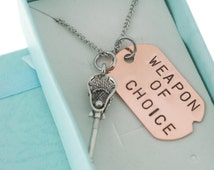Lacrosse necklace and copper word tag on stainless steel chain. Lacrosse necklace. Lacrosse Gift.  Girl Lacrosse Player.  Teen Girl Gift.