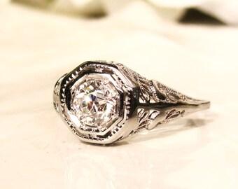 Antique Engagement Ring 0.60ct Old European Cut Diamond Edwardian Engagement Ring 18K White Gold Heart Motif Filigree Antique Wedding Ring