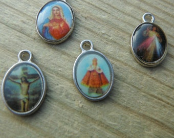Six Tiny Religious Medals for Charm Bracelets/Jewelry Making