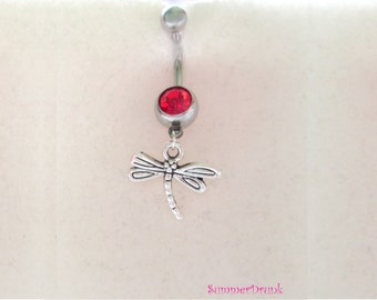 Dragonfly belly button ring , Navel ring, Belly button Jewelry, Belly button piercing, Belly navel ring piercing,Belly button ring