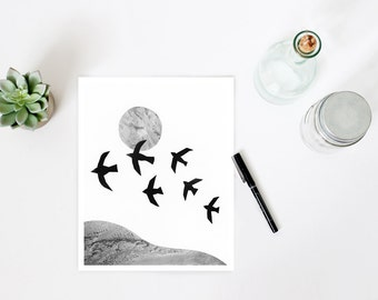 Minimalist art, black and white print,  bird print, flock of birds, landscape print, mixed media art, photo collage, scandinavian art print