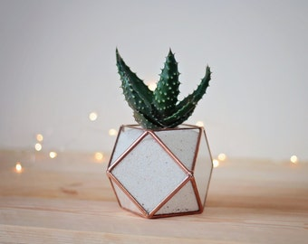 Coworker Gift, Geometric Terrarium, Minimalist Desk Planter, Valentine Gift, Plant Lovers Gift, Stained Glass Vase, Cubicle Decor, Glass Pot
