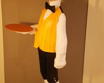 butler, waiter, papeer mache sculpture, decoracion figure