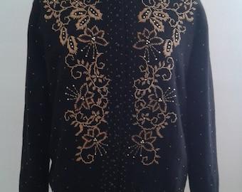 Vintage 1950's Black Lambswool Cardigan Sweater Gold Bronze Beading Sz 44 Large Ladylike
